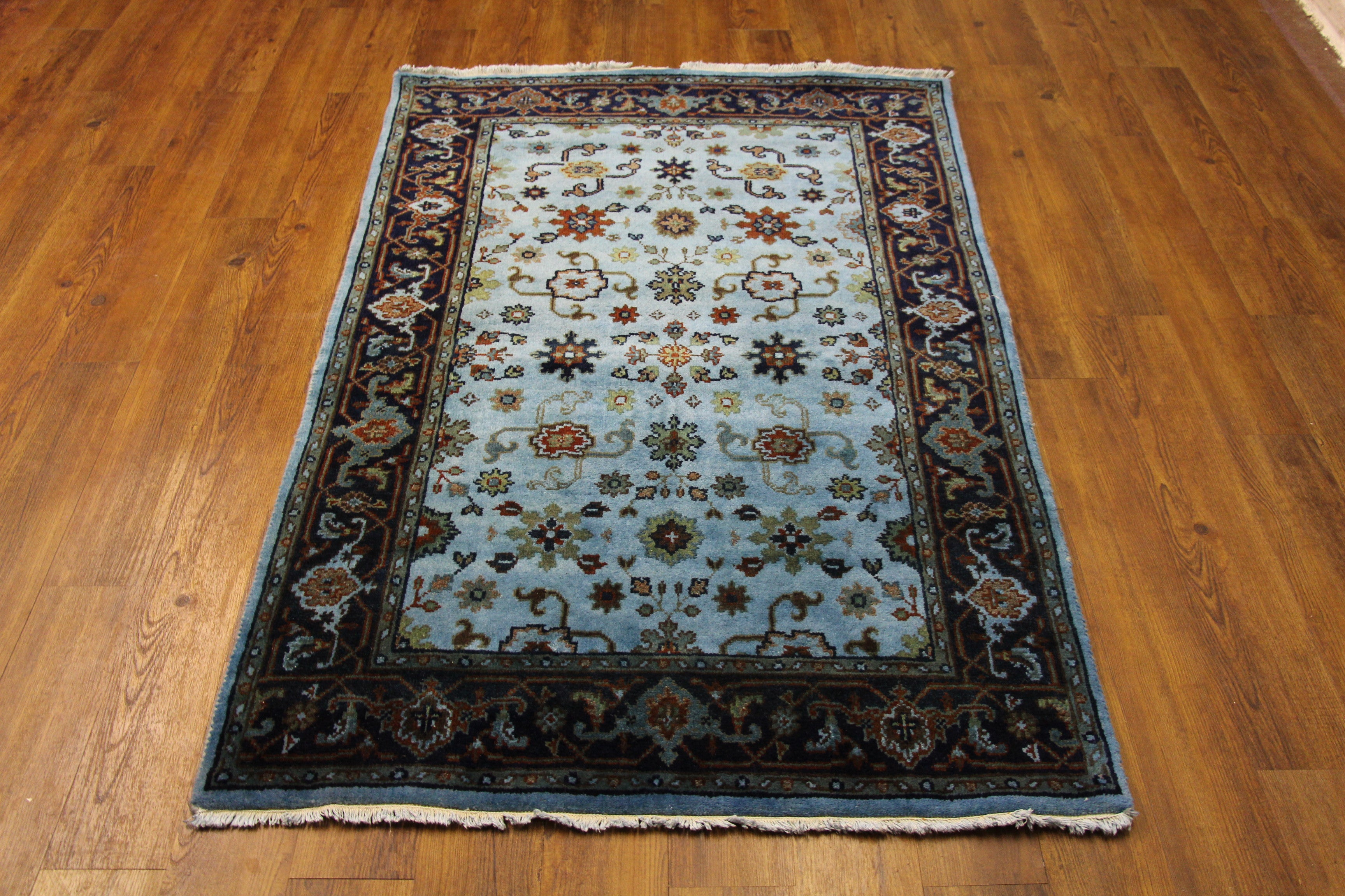 4x6 Teal Area Rug Over-Dyed Handknotted Wool Rug 2780 - west of hudson