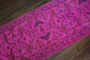 3x12 Hot Pink Overdyed Runner 2782 - west of hudson