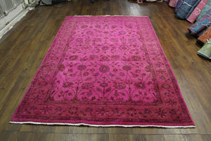 6x9 Overdyed Fuchsia Hot Pink Floral Vine Rug 2783 - west of hudson