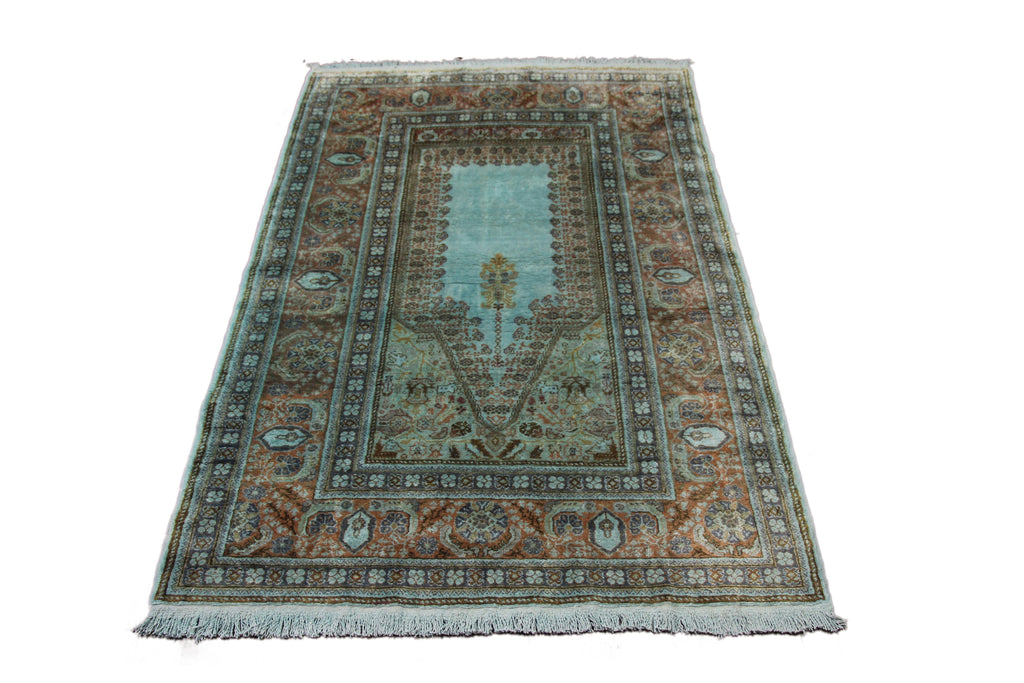 4x6 Overdyed Vintage Turkish Silk Rug Mint Green 2806 - west of hudson