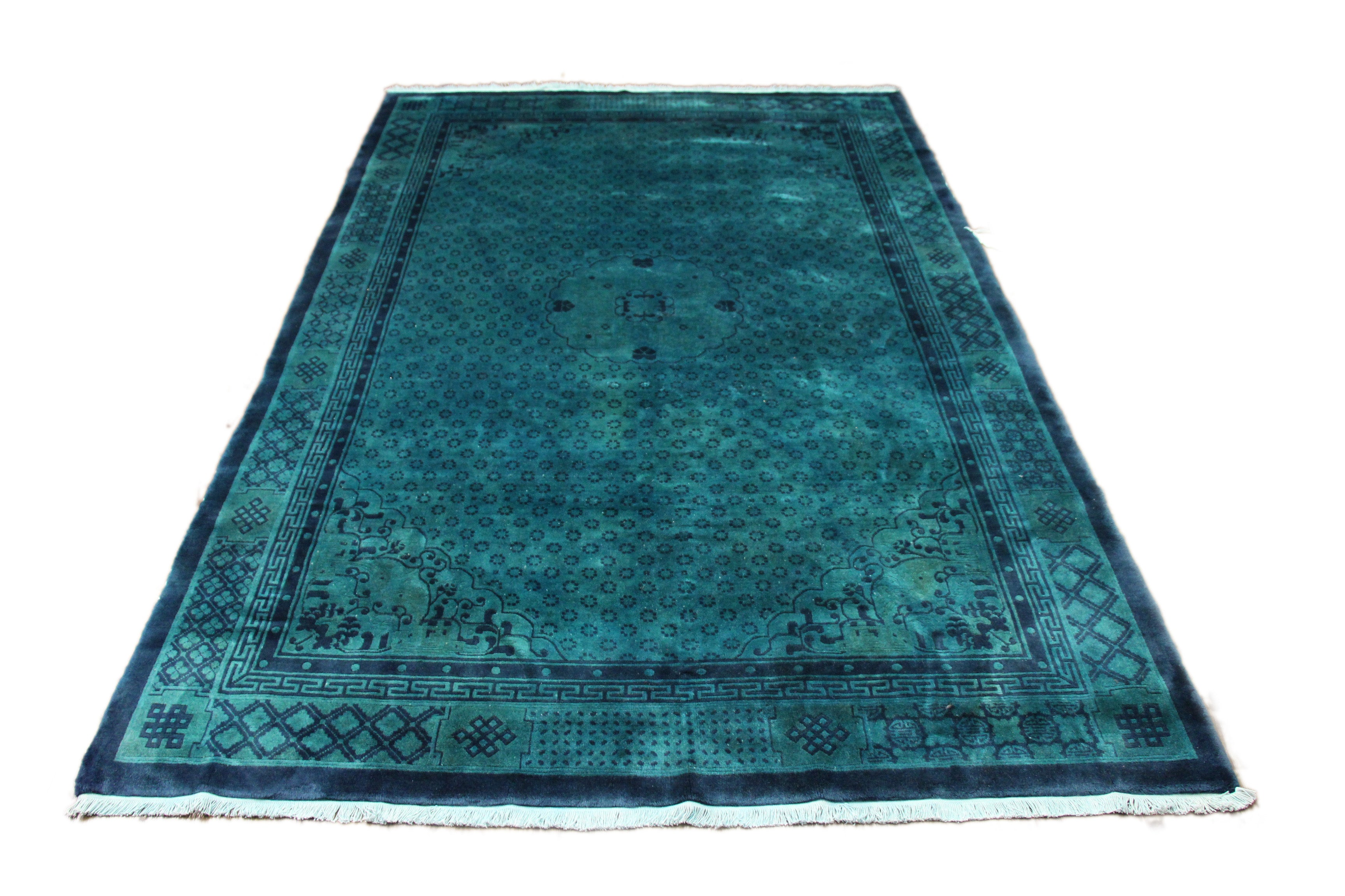 6x9 Teal Green Overdyed Chinese Deco Rug 2818 - west of hudson