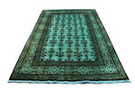 6x9 Overdyed Teal Green Deco Rug 2821 - west of hudson
