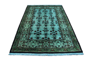 4x6 Overdyed Turquoise Rug Deco Floral Teal 2822 - west of hudson