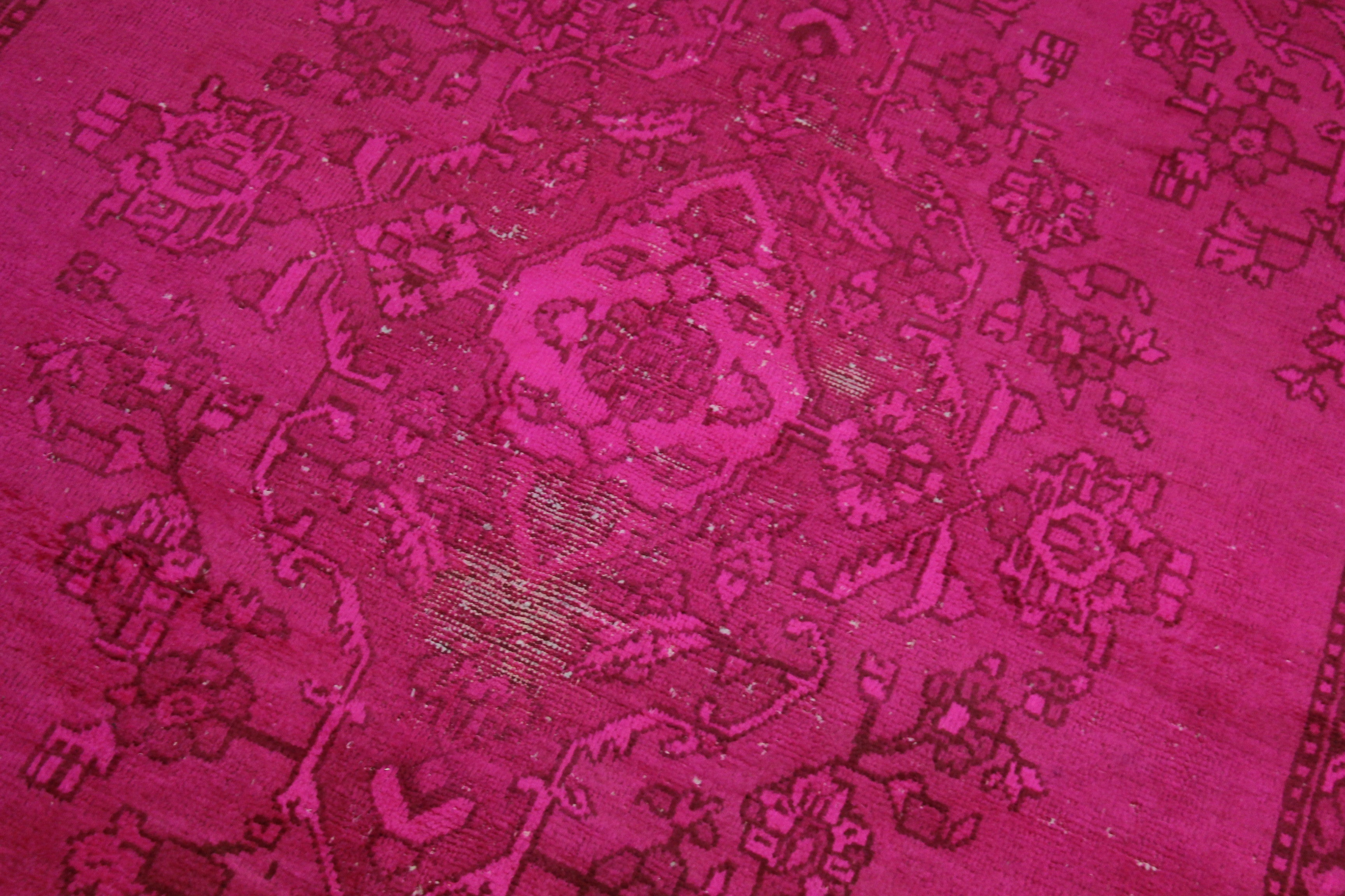 6x9 Overdyed Hot Pink Rug Distressed Vintage Oriental 2823 - west of hudson