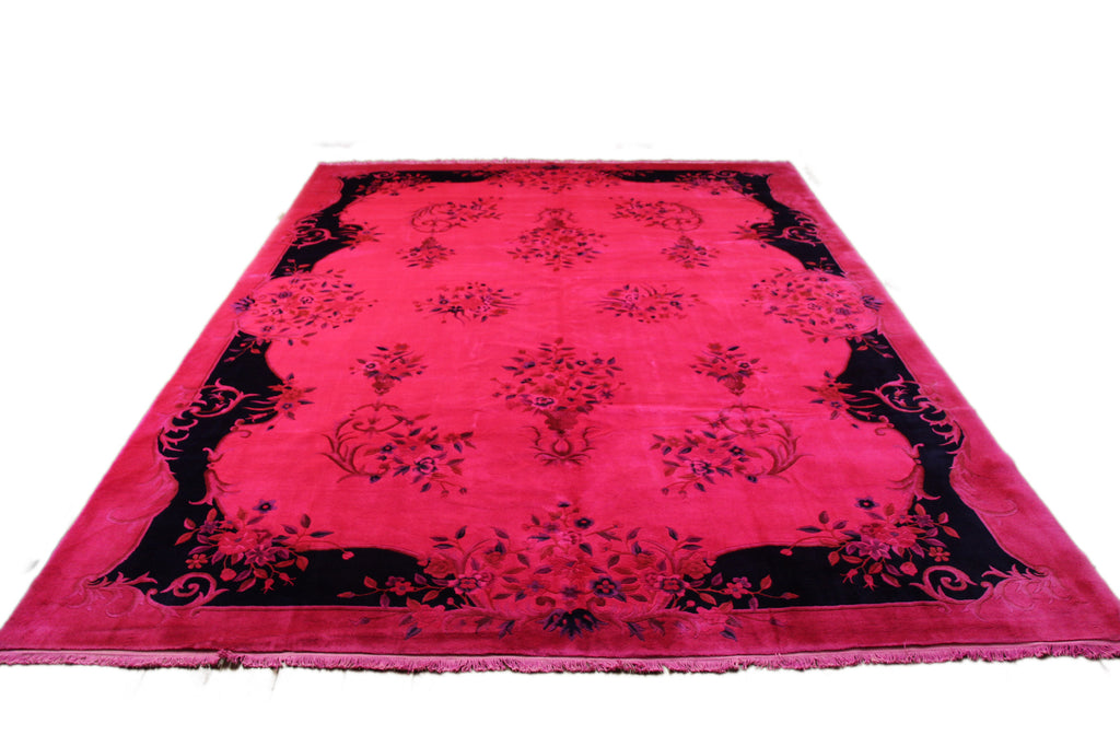 9x12 Hot Pink Rug Overdyed Chinese Art Deco Floral 2825 - west of hudson