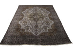 8x11 Vintage Oriental Rug Distressed Silver Gray 2830 - west of hudson