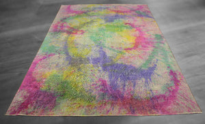 6x10 Overdyed Color Splash Wool Rug Tie Dye a59700 - west of hudson