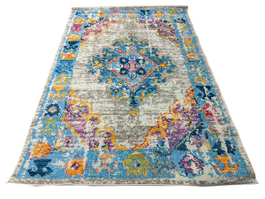 Colorful Oriental Medallion Rug Fuchsia - Breezy- Indoor / Outdoor