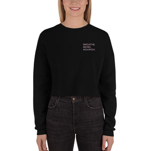 Breath. Bend. Nourish. Women's Cropped Sweatshirt (Vertical)