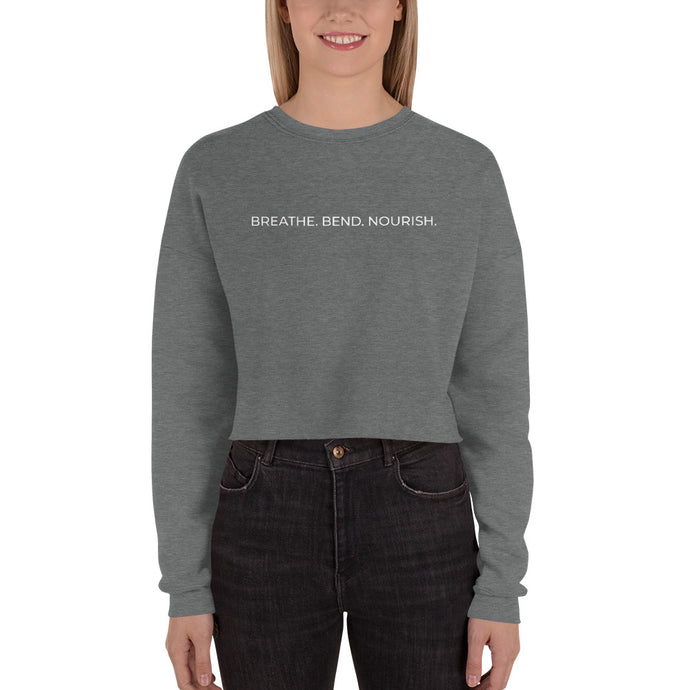 Breath. Bend. Nourish. Women's Cropped Sweatshirt (Horizontal)