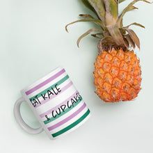 Load image into Gallery viewer, Eat Kale & Cupcakes White Glossy Mug