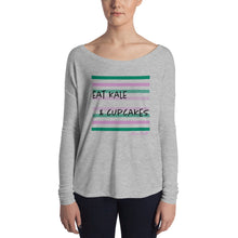 Load image into Gallery viewer, Eat Kale & Cupcakes - Ladies' Long Sleeve Tee