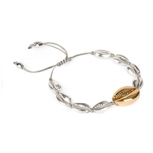 Silver and gold shell bracelet
