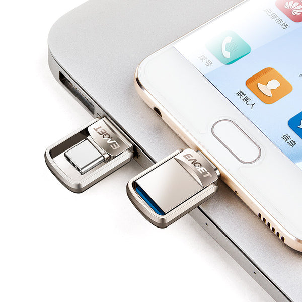 EAGET Metal 32GB Type-c OTG USB 3.0 U Disk Pendrive Flash Drive for Xiaomi Mobile Phone Tablet PC