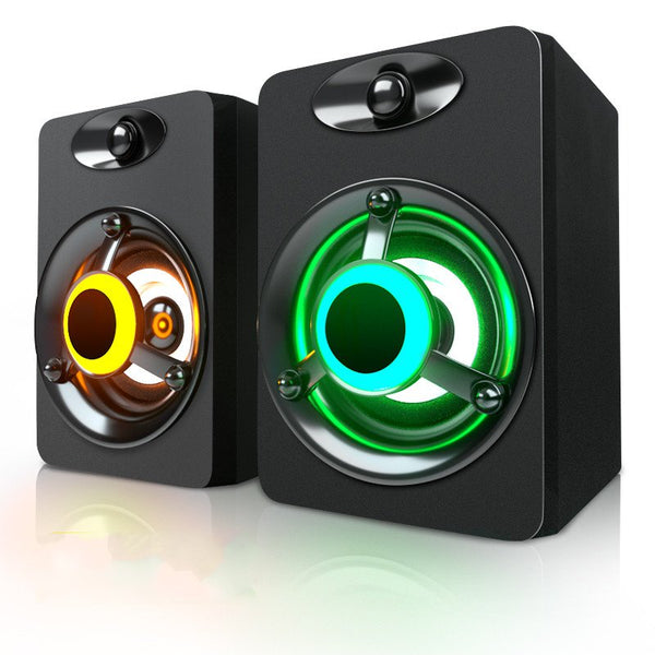 SADA V-188 Colorful LED Light 2.0 Computer Speaker Bass Stereo Dual Speakers for Phone PC Laptop