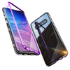 Magnetic Adsorption Aluminum Alloy Bumper Tempered Glass Back Cover Protective Case For Samsung Galaxy S10 Plus