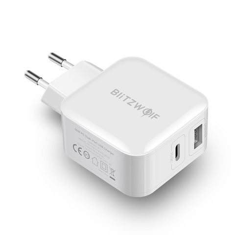 BlitzWolf® BW-S11 30W Type-C PD/QC3.0+2.4A Dual USB Charger EU Adapter for Xiaomi Huawei for iPhone