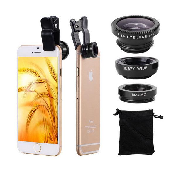 Bakeey Universal Clip Camera Lens 0.67 Wide Angel+180 Degree Fish Eye+Macro For Mobile Phone Tablet