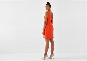 Stunning orange, sleeveless, backless dress for sizes 8-18