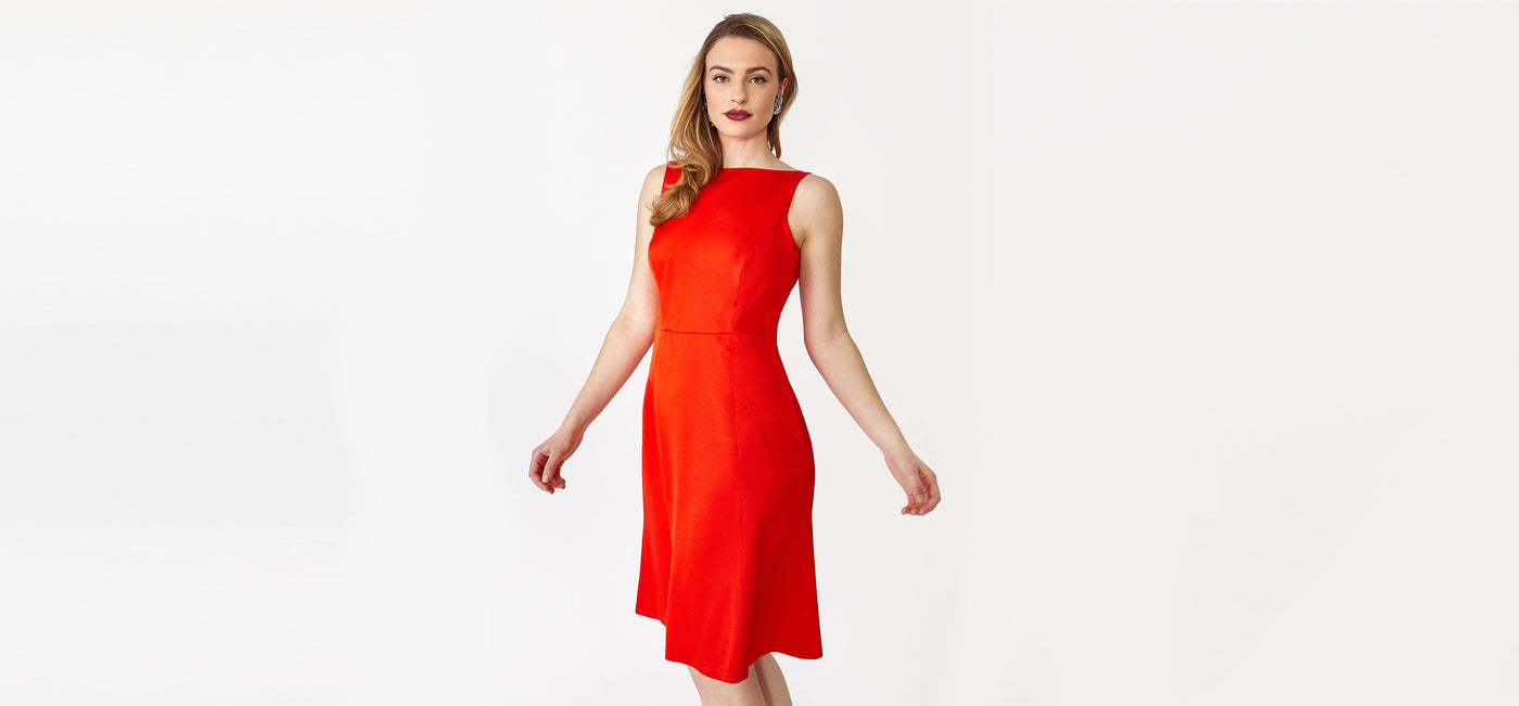 Gorgeous sleeveless red dress for work and cocktail parties