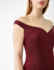 Ava James NYC Paris Dress in Maroon Off the Shoulder Neoprene size 8 size 10 size 12 front view close up