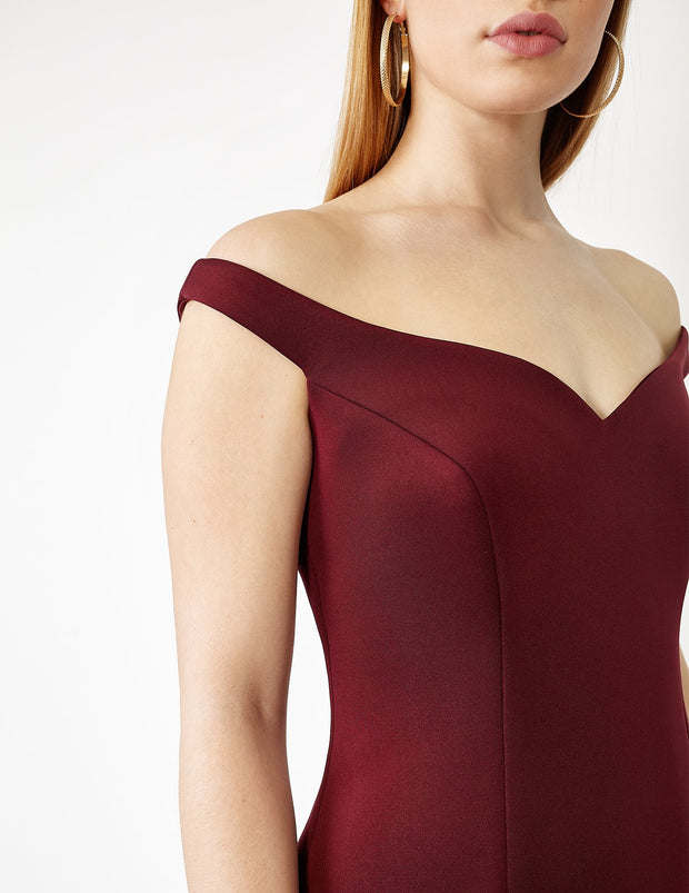 Red Off-the-Shoulder Plus Size Formal Cocktail Dress