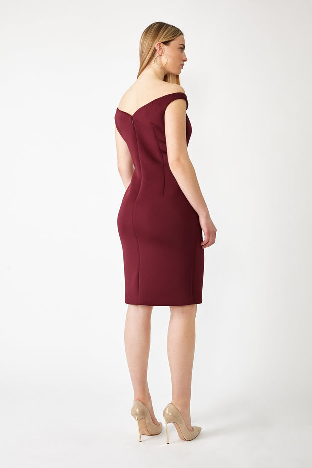 Ava James NYC Paris Dress in Maroon Off the Shoulder Neoprene size 8 size 10 size 12 back view