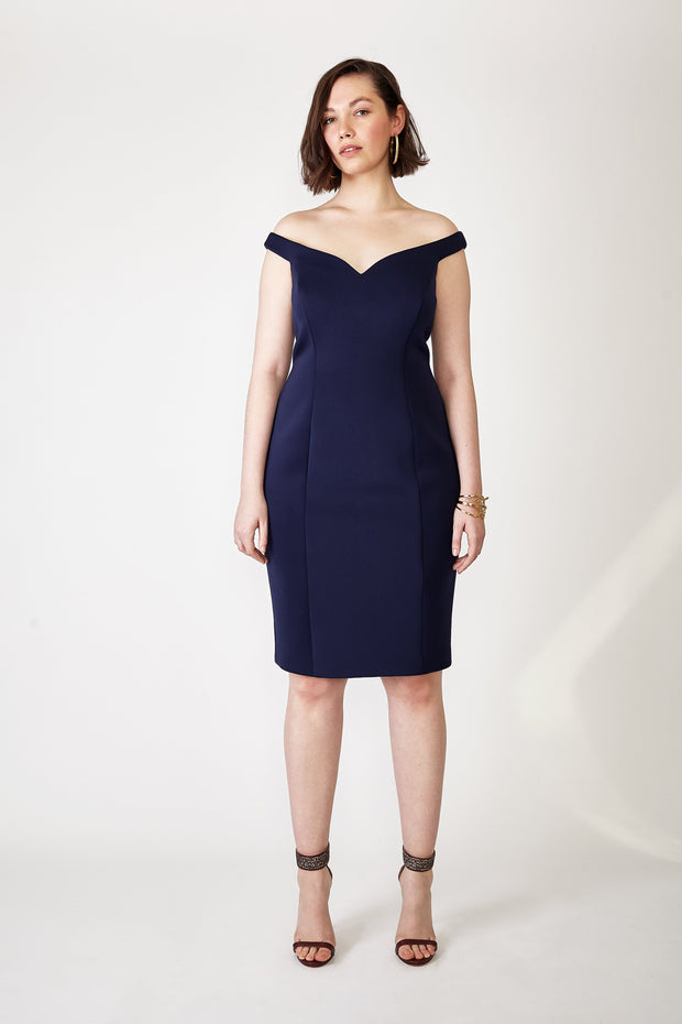 Ava James NYC Paris Dress in Navy Off the Shoulder Neoprene size 8 size 10 size 12 front view