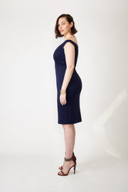 Dark Blue Off-the-Shoulder Plus-Size Neoprene Dress