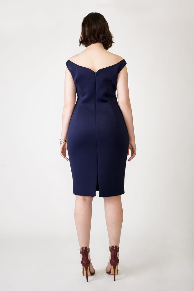 Ava James NYC Paris Dress in Navy Off the Shoulder Neoprene size 8 size 10 size 12 back view