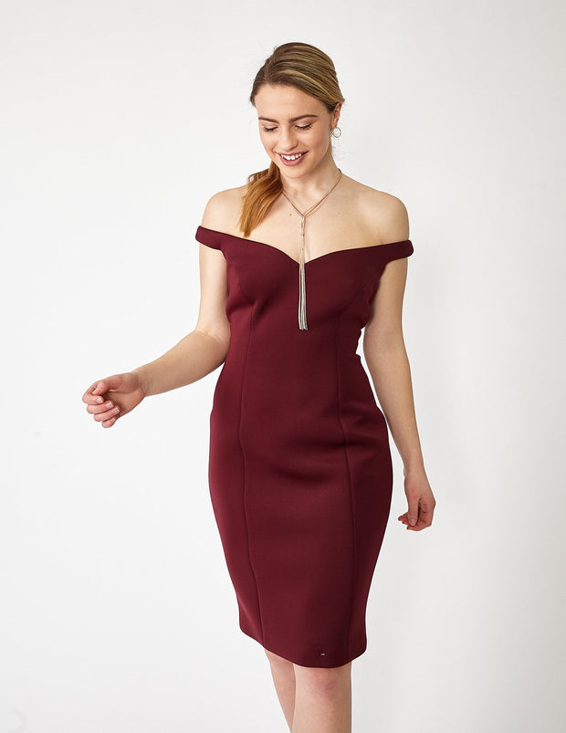 Ava James NYC Paris Dress in Maroon Off the Shoulder Neoprene size 8 size 10 size 12 front view