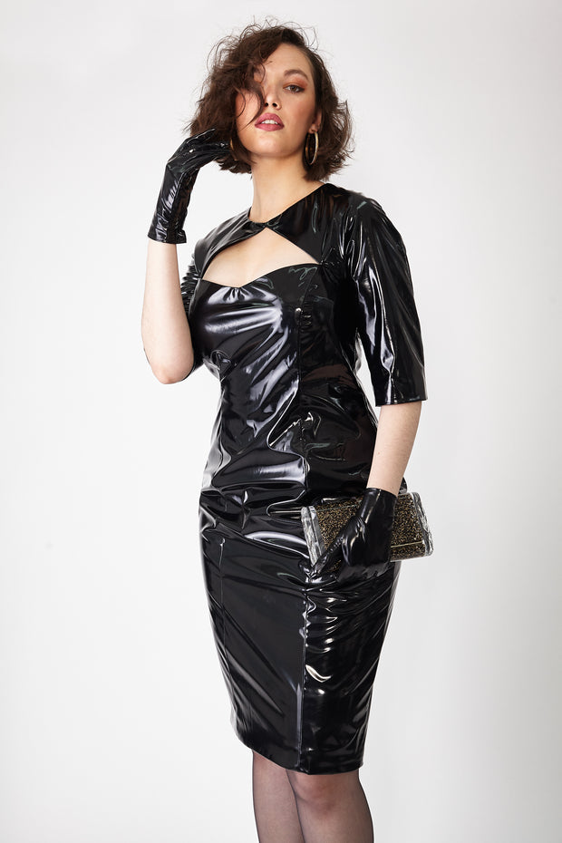 Ava James NYC Black Faux Latex Dress Plus Size