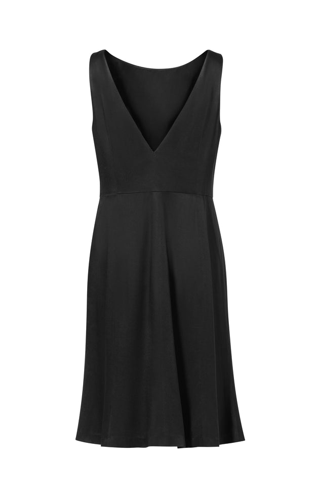 Ava James NYC Madrid plus-size sleeveless backless dress with flared skirt in black charcoal back view