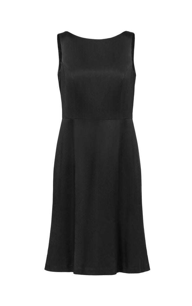 Ava James NYC Madrid plus-size sleeveless backless dress with flared skirt in black charcoal front view