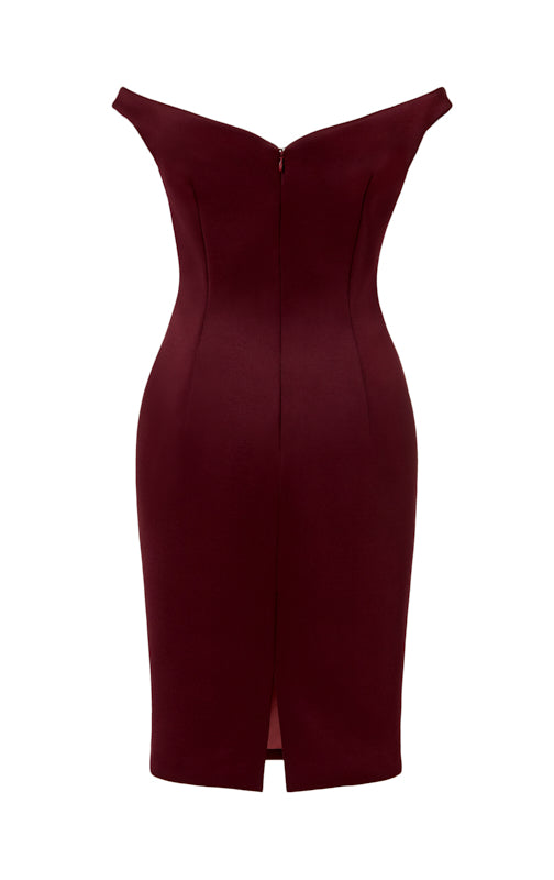 Ava James NYC Paris Dress in Maroon Off the Shoulder Neoprene Back View