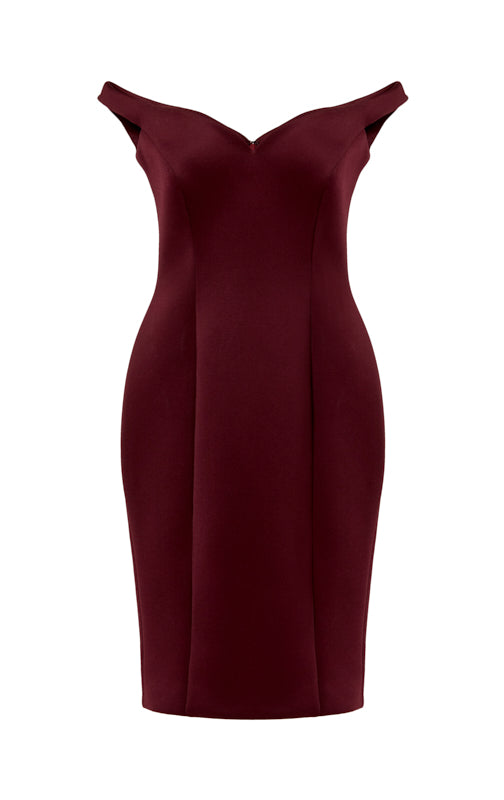 Ava James NYC Paris Dress in Maroon Off the Shoulder Neoprene Front View