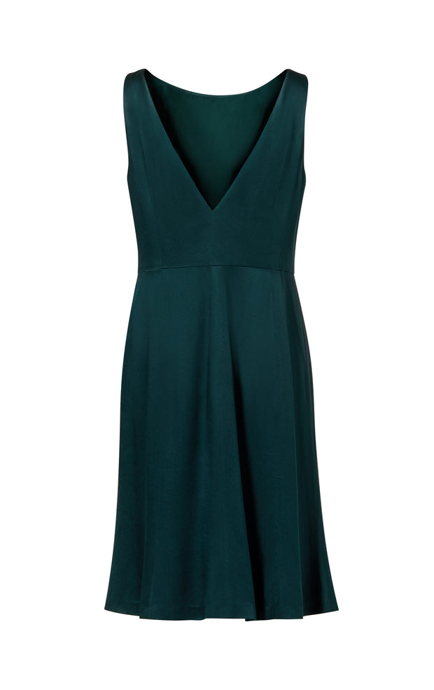 Ava James NYC Madrid plus-size sleeveless backless dress with flared skirt in dark green back view