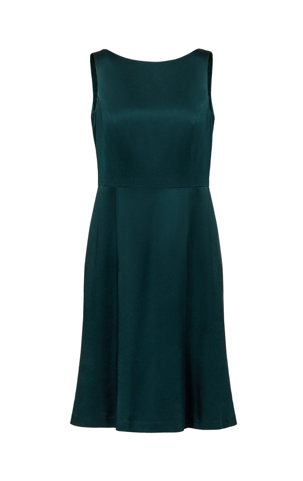Ava James NYC Madrid plus-size sleeveless backless dress with flared skirt in dark green front view size 10 size 12 size 14 size 16