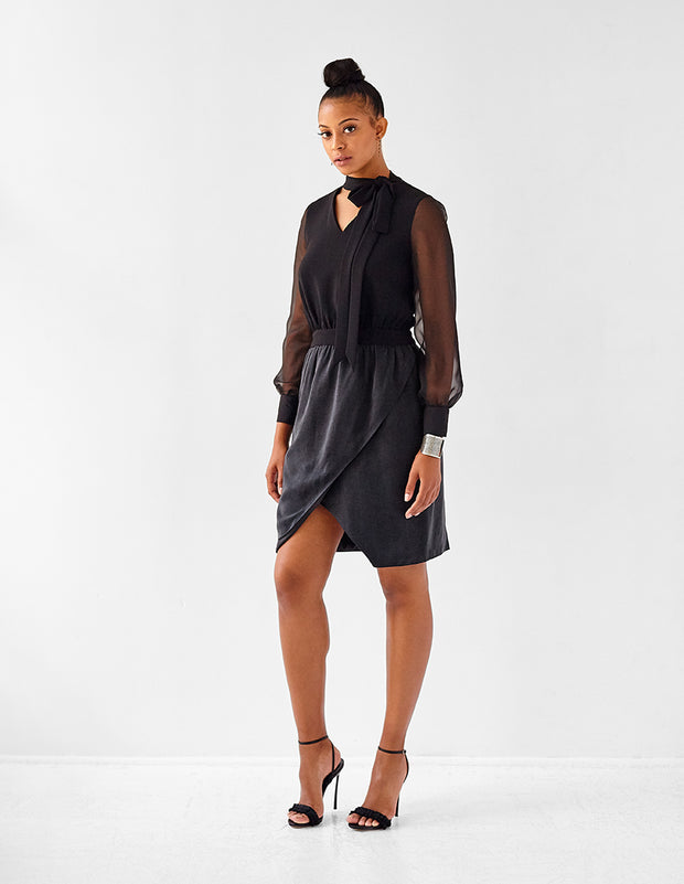 Ava James NYC London long-sleeve shirt dress with wrap skirt, blouson sleeves pussy bow in black size 8 size 10 size 12 size 14 size 16