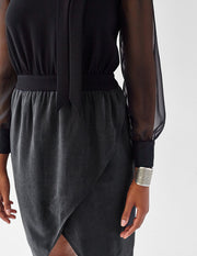 Plus-Size Black Work Dress with Sleeves