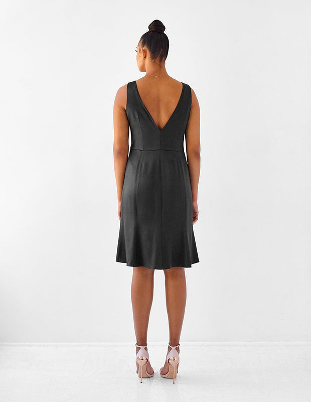 Ava James NYC Madrid sleeveless backless dress with flared skirt in black charcoal size 10 size 12 size 14 size 16 back view