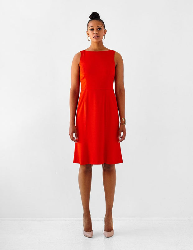 Ava James NYC Madrid plus-size sleeveless backless dress with flared skirt in red front view size 12 size 14