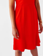 Ava James NYC Madrid plus-size sleeveless backless dress with flared skirt red close up size 12 size 14