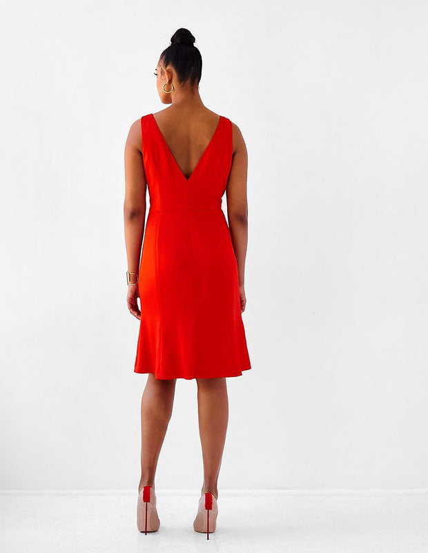 Ava James NYC Madrid plus-size sleeveless backless dress with flared skirt in red back view size 12 size 14