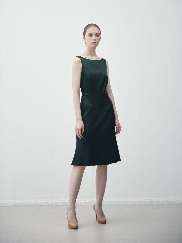 Ava James NYC Madrid sleeveless backless dress with flared skirt in dark green size 8 size 10 size 12 size 14 size 16