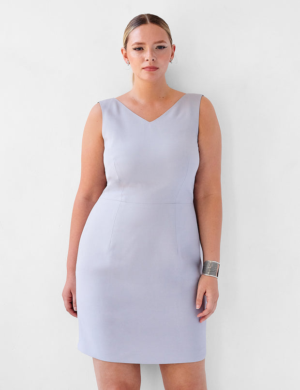 Ava James NYC | Berlin Dress Lavender Grey Sleeveless Backless Back Cut Out Formal Work Dress front view close up