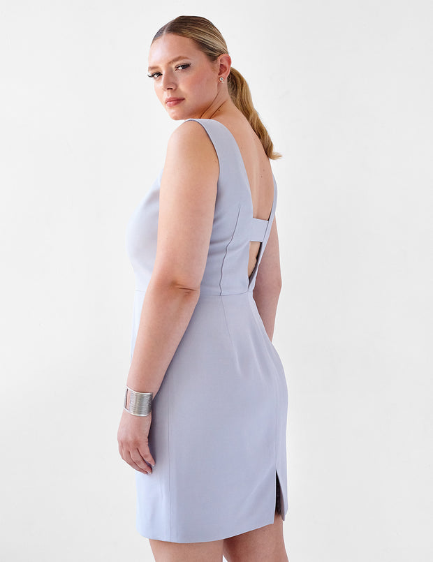 Ava James NYC | Berlin Dress Lavender Grey Sleeveless Backless Back Cut Out Formal Work Dress back view