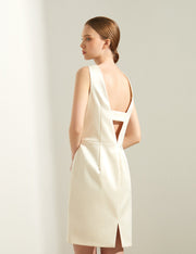 Ava James NYC | Berlin Dress Bridal Wedding Cocktail Sleeveless Backless Ivory White