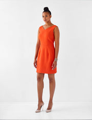 Ava James NYC | Berlin Dress Burnt Orange Sleeveless Backless Back Cut Out Formal Work Dress front view