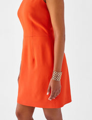 Ava James NYC | Berlin Dress Burnt Orange Sleeveless Backless Back Cut Out Formal Work Dress close up